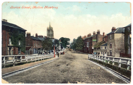 Old picture postcard of Melton Mowbray, UK